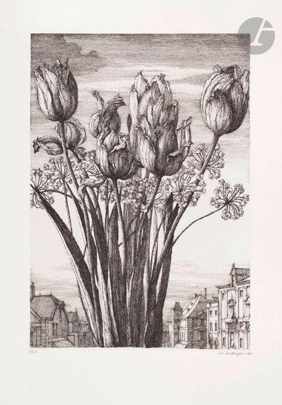 Érik Desmazières (né en 1948) Les Tulipes....
