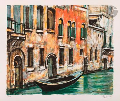 Takanori Oguiss (1901-1986) Canal à Venise....