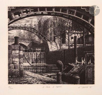 Gérard Trignac (né en 1955) Le Canal Saint-Martin....