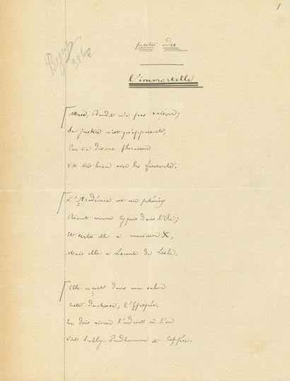 BANVILLE Théodore de (1823-1891). POÈME autographe...