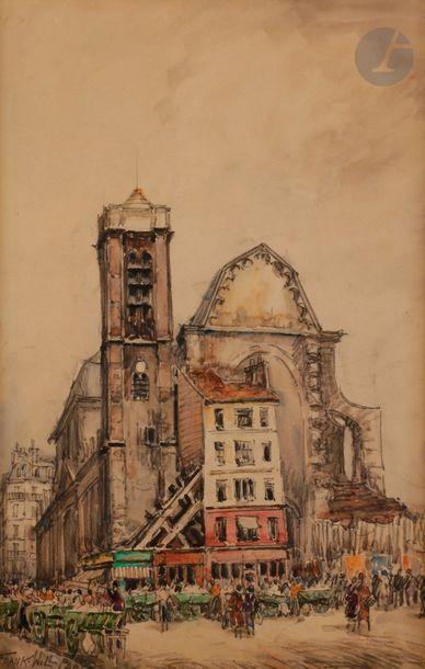 FRANK-WILL (1900-1951) Paris, église et boulevard...
