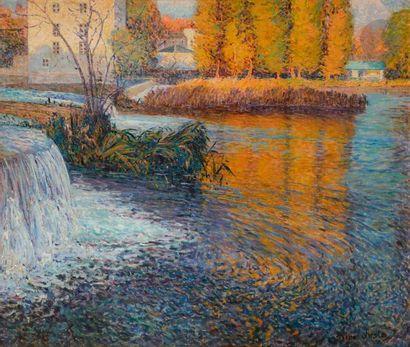 René JUSTE (1868-1954) Le Barrage Huile sur...