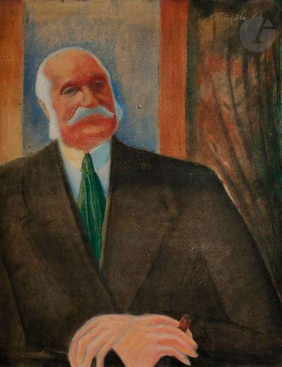 Béla MESZÖLY-MUNKAS (1889-?) Portrait d'homme...