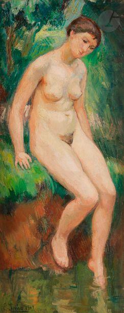 Eugen SPIRO (1874-1972) Baigneuse, 1909 Huile...