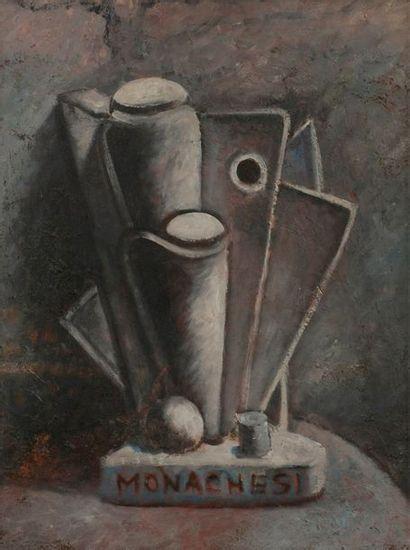 Sante MONACHESI (1910-1991) Creazione plastica, 1931 Huile sur toile. Signée dans...