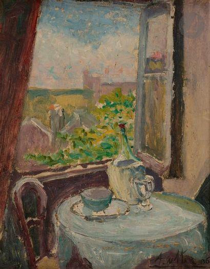 André UTTER (1886-1948) Guéridon devant la...
