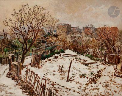 *Marcel-François LEPRIN (1891-1933) Le Maquis de Montmartre sous la neige, vers...