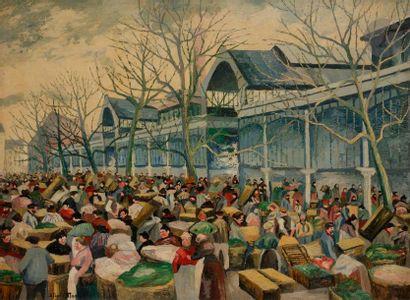 *Élisée MACLET (1881-1962) Les Halles, 1913 Huile sur toile. Signée en bas à gauche....