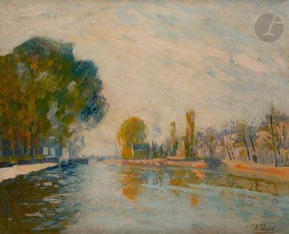 Élie-Anatole PAVIL (1873-1944) Canal de l'Ourq Huile sur toile. Signée en bas à...