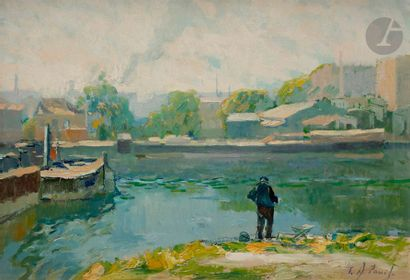 Élie-Anatole PAVIL (1873-1944) Pêcheur près...