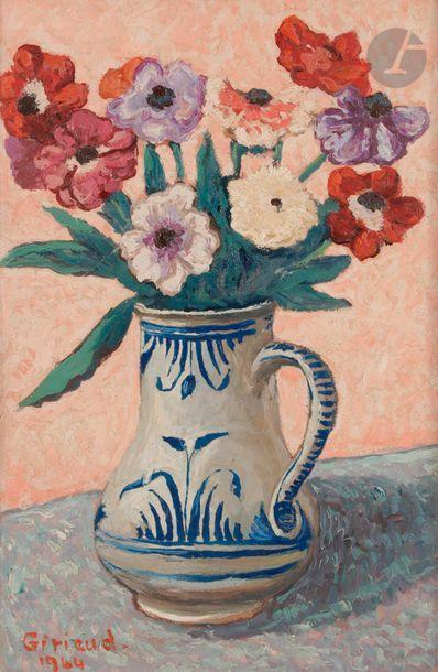 Pierre GIRIEUD (1876-1948) Pichet de fleurs,...