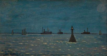 Jean HELLEU (1894-1985) La Rochelle, la nuit...