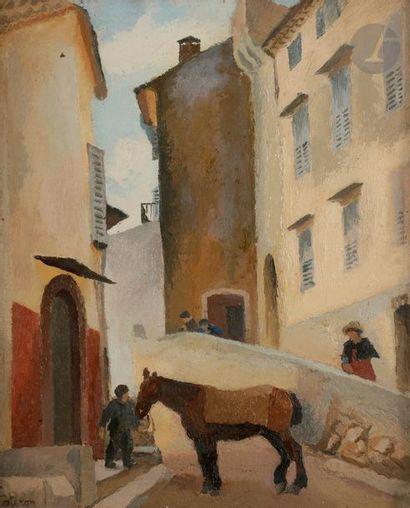 Robert LOTIRON (1886-1966) Le Cheval Huile...