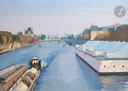 Yves de SAINT-FRONT (1928-2011) Paris, péniches...