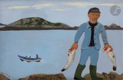 Yves de SAINT-FRONT (1928-2011) Pêcheur Huile...
