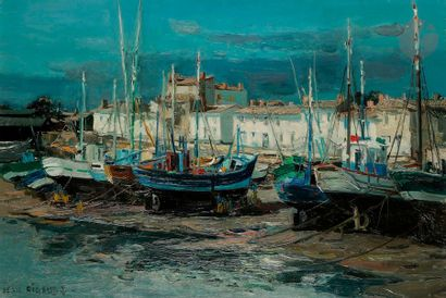 Jean RIGAUD (1912-1999) Île d'Yeu, Port-Joinville...