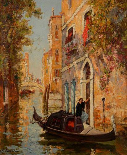 Charles COUSIN (1904-1972) Gondole à Venise...