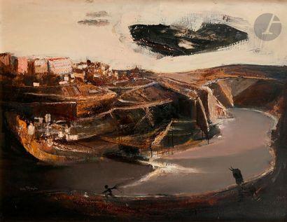 Antonio URIA MONZON [espagnol] (1929-1996) Paysage à Getaria, 1964 Huile sur toile....