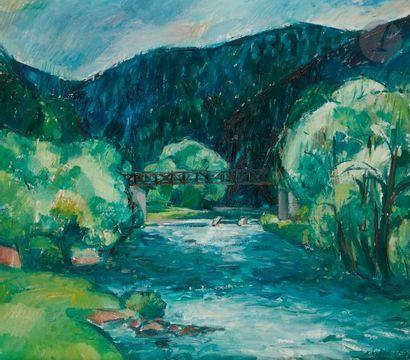 Karel SOUCEK (1915-1982) Pont sur la rivière...