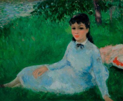 François GALL (1912-1987) Jeune fille assise...