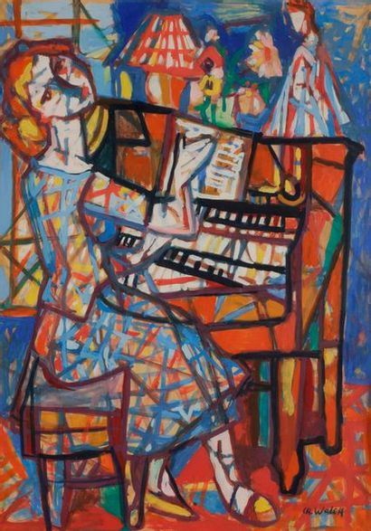 Charles WALCH (1896-1948) La Pianiste Gouache....