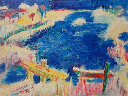 Yvonne MOTTET (1906-1968) Barques au port...