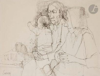 Jean JANSEM (1920-2013) Couple à l'enfant...