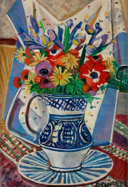 François DESNOYER (1894-1972) Vase de fleurs...