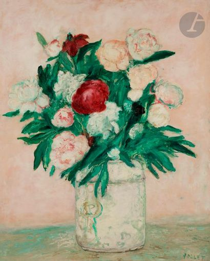 Jean POLLET (né en 1929) Les Pivoines, vase...