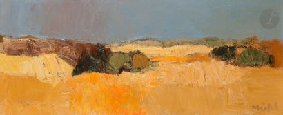 Roger MÜHL (1929-2008) Paysage Huile sur toile. Signée en bas à droite. 21x50...