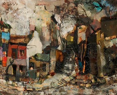 Olivier FOSS (1920-2002) Le Lapin Agile Huile sur toile. Signée en haut à gauche....
