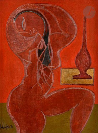 *Ali BELLAGHA (1924-2006) Nu au vase, 1971...