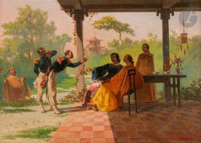 Auguste DOVIANE (1825-1887) Indochine, Scène...
