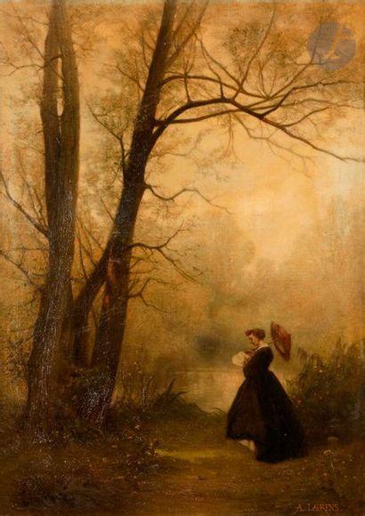 Albert F. LAURENS (1864-1934) Femme à l'ombrelle...