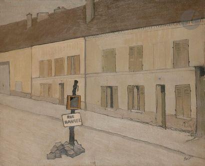 Joseph ROSSI (1892-1930) Rue barrée Huile...