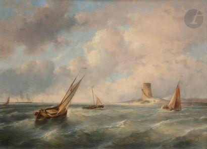 Jan Evert II MOREL (1835-1905) Marine Huile...