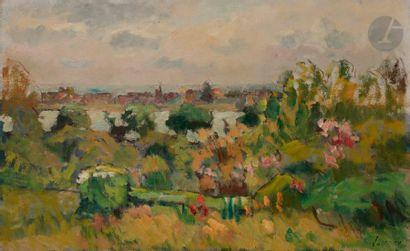 Abel LAUVRAY (1870-1950) Lavacourt Huile...