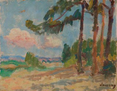 Abel LAUVRAY (1870-1950) Paysage aux arbres...