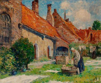 Pierre Jacques DIERCKX (1855-1947) Cour de...