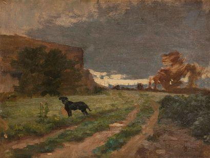 Paul SAIN (1853-1908) Paysage au chien Huile...