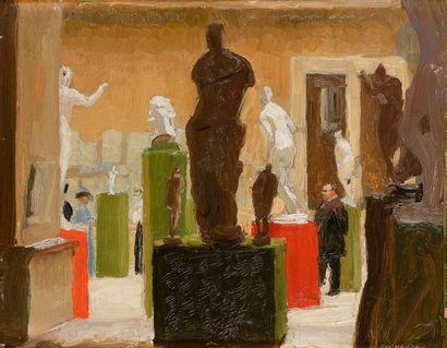 Jules FLANDRIN (1871-1947) Au musée Huile...