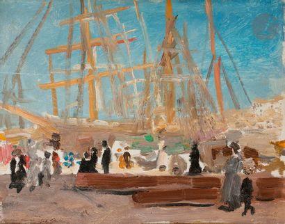 Jules FLANDRIN (1871-1947) Marseille, le port, 1909 Huile sur panneau. Signée et...