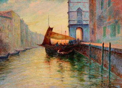 Italo GIORDANI (1882-1956) Venise au crépuscule...