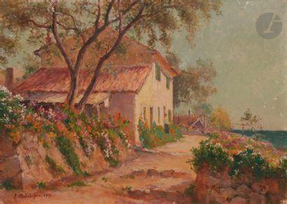 Eugène Jules DELAHOGUE (1867-1935) Maison en bord de mer, 1917 Huile sur toile....