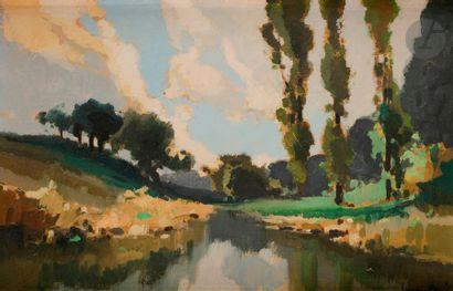 Lucien PERI (1880-1948) Paysage de rivière...
