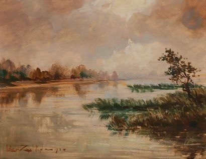 Léon ZEYTLINE (1885-1962) Paysage au fleuve,...