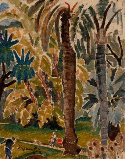 Adolphe-Marie BEAUFRÈRE (1876-1960) Jardin à Alger Huile sur panneau toilé. Porte...