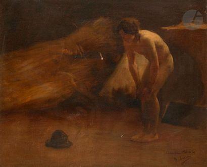 Henry LEROLLE (1848-1929) Nu au chapeau Huile sur toile. Signée et dédicacée «à...