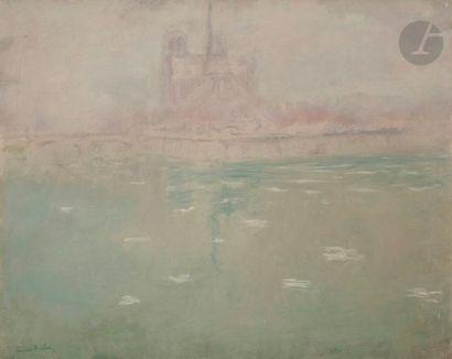 André BARBIER (1883-1970) Paris, la Seine au chevet de Notre-Dame, vers 1941 Huile...