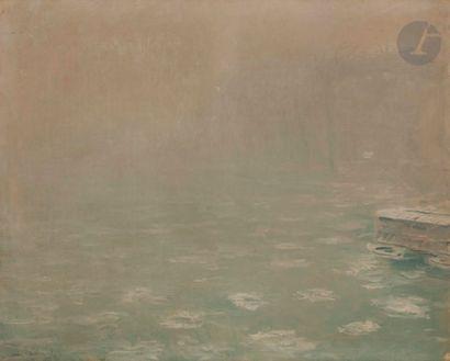 André BARBIER (1883-1970) Brume sur la Seine,...